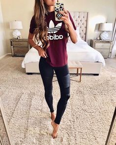 summer outfits with black leggings best outfits – Page 37 of 82 – cute dresses outfits Pastel Outfit, Athletic Outfits, Athletic Wear, Athletic Fashion, Mode Adidas, Winter Outfits, Casual Outfits, Mom Outfits, College Outfits