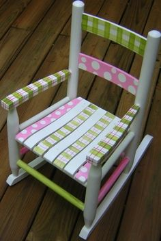 Hand Painted Childrens Table And Chairs - Foter something like this on a wooden bench Painted Rocking Chairs, Hand Painted Chairs, Painted Stools, Childrens Rocking Chairs, Funky Painted Furniture, Paint Furniture, Repurposed Furniture, Furniture Projects, Kids Furniture