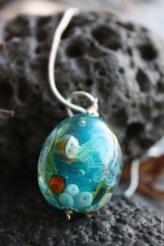 """lampwork glass pendant / Кулоны, подвески ручной работы. Заказать Кулон лэмпворк  аквариумный """"Атлантида"""" серебро 925, стекло. Мария Мазай Лэмпворк. Ярмарка Мастеров."""
