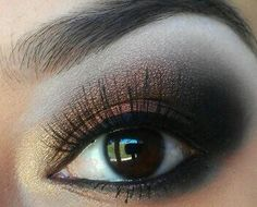 Brown and gold smoky eye make up #makeup #eyes #eyeshadow by dee