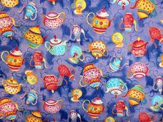 VI TEAPOTS PURPLE TEA PARTY RED BLUE TEA TIME PRINT PATCHWORK DRESS FABRIC CRAFT | eBay Party Background, Patchwork Dress, Fabric Crafts, Tea Time, Baby Items, Tea Party, Red And Blue, Bridal Showers, Teapots