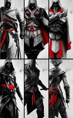 A couple of Assassins, and three Ezios'........