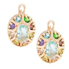 Romantic Time Multiple Prong Gemstone Studded Rose Gold Vintage Roman Coliseum Hoop Earrings - http://www.spiritualgemstonejewelry.com/romantic-time-multiple-prong-gemstone-studded-rose-gold-vintage-roman-coliseum-hoop-earrings/