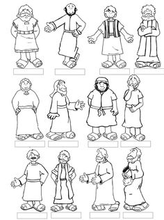 Lesson 8 Jesus Calls the Disciples--12 printable disciples for kids to color and add popsicle sticks: