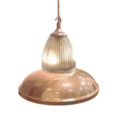 Polished Copper Glass Pendant Light Bespoke Traditional Polished Copper Fitting, Industrial metal spun shade with either Prismatic or Frosted Hand Blown Glass Shade which sits on the top.  Industrial round dome shade can have any bespoke finish as shown with any Flex.