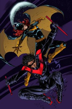 Pencils by Ardian Syaf -> Inks by Josh Oakes Flats by Timothy Brown -> Colours by Matt James This one was a lot o fun. Batgirl and Nightwing (Blue) Batgirl And Robin, Nightwing And Starfire, Batman Robin, Gotham Batman, Comic Books Art, Comic Art, Comics Anime, Nananana Batman, Hq Dc