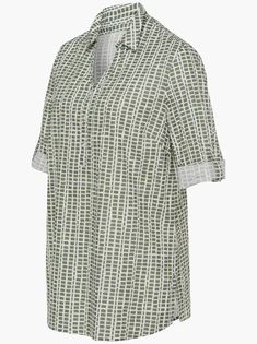 Blouse in kaki gedessineerd | Your Look... for less! For Less, You Look, Blouse, Blouses, Woman Shirt, Hoodie, Top