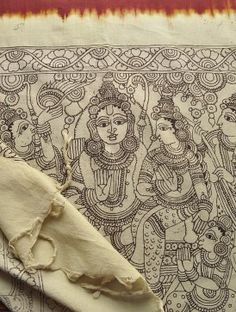 """Hand-drawn Kalamkari cotton Dupatta,  India.  A dupatta (Hindi: दुपट्टा, Punjabi: ਦੁਪੱਟਾ/ਚੁੰਨੀ, دوپٹا, Urdu: دوپٹا) is the long, matching scarf essential to many South Asian women's garment ensembles. In the Srikalahasti style of Kalamkari, the """"kalam"""" or pen is used for freehand drawing of the subject with vegetable dyes. This style flowered around temples and so had a quasi- religious identity, depicting deities and scenes taken from the great Hindu epics."""