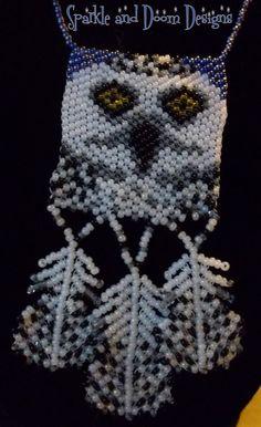 Peyote Stitch Owl Panel Necklace with Beaded by SparkleandDoom, $40.00