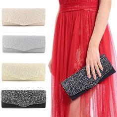 cb8e1382750 Diamante Satin Party Prom Clutch Wedding Bridal Evening Handbag Women Bag  Purse Diamante Clutch Bag,