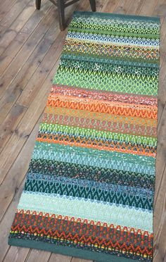 Green and orange mix rag rug. Handmade on the loom. The rug is funny, practical and decorative. by MareMaa on Etsy Recycled Fabric, Green And Orange, Woven Rug, Floor Rugs, Loom, Scandinavian, Hand Weaving, My Etsy Shop, Handmade Gifts