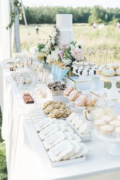 dessert table A Gorgeous Backyard Wedding in Buffalo, New York Diy Dessert, Dessert Bar Wedding, Wedding Sweets, Sweet Table Wedding, Candy Bar Wedding, Outdoor Dessert Table, Elegant Dessert Table, Pink Dessert Tables, Dessert Table Backdrop