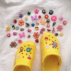 shoes Source by nazyfarnoosh shoesYellow crocs - yellow shoes Source by nazyfarnoosh shoes Shoe charms shoe decor choose your own gifts birthday Cute Shoes, Me Too Shoes, Trendy Shoes, Yellow Crocs, Croc Charms, Aesthetic Shoes, Crocs Shoes, Crocs Sandals, Women's Shoes