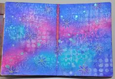 The Newest Dylusions Ink Sprays - February 2013 - Great video & dylusions techniques -dilutung, using white, blending with white, ghosting, aqua pens & outlining in white signo. http://www.joggles.com/dylusionsinkspraysnewcolors-video.htm