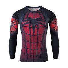 Men Marvel Compression Shirt Long Sleeve 3D T Shirt Superman/Captain America Fitness Clothing