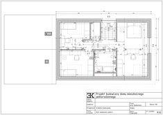 Powierzchnia 66,3 m2, korytaż, sypialna z garderobą, pokoje dzieci, sypialnie dzieci, łazienka, pomieszczenie gospodarcze / Планировка второго этажа дома, планировка мансарды, детская комната, спальни для детей, спальня с гардеробом, ванная комната Residential Architecture, Floor Plans, Projects, Floor Plan Drawing