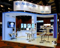 Trade show stands do not have to be all about straight lines and hard edges. Add some curves and get groovy like this trade show stand for Allergan @ Plastic Surgery Conference 2013.