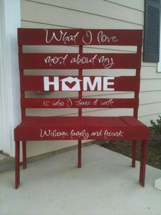Pallet bench - maybe make them all different colors. Some red some white some blue??