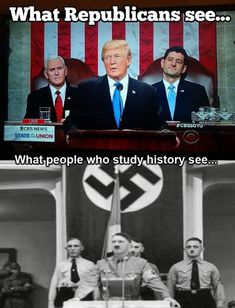 What Republicans see vs what people who study history see. Study History, Way Of Life, Satire, Social Justice, We The People, Donald Trump, Presidents, At Least, Shit Happens