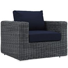 Transitional Gray Outdoor Armchair