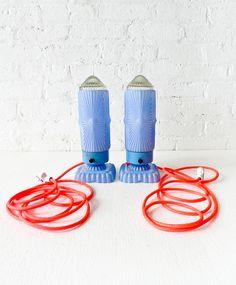 Antique Pair of Baby Blue Art Deco Bullet Lamps by EarthSeaWarrior