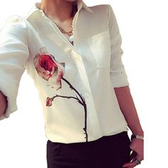 2017 Autumn Rose Flower Printed Long Sleeve Blouse Women Turn Down Collar Chiffon Shirts White Plus Size Women Clothes