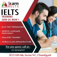 Want to be assured about your IELTS Score??? CFC Education Ielts institute invites you to join IELTS preparation classes.  Salient Features: • Certified & Experienced Instructors • Well-equipped Labs/Library • Individual Attention • Peaceful Learning Environment • Free Study Materials  To know more Contact us :  Contact : 9814040917 Email : info.cfceducation@gmail.com Address : SCO 145-146 sector 9-C, Madhya Marg Chandigarh Language Proficiency, Test Preparation, Advertising, Ads, Social Media Design, Learning Environments, Study Materials, Ielts, Coaching