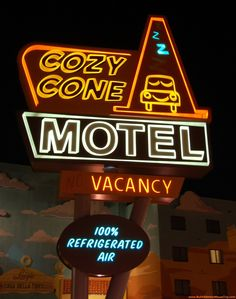 """The Cozy Cone motel in the Disney-Pixar Movie """"Cars"""" was inspired by the Wigwam Motels along Route 66 and was incorporated into the Cars area of Disney's Art of Animation Resort at Disney World the Cars Land area of Disney's California Adventure park. See: http://www.wigwammotel.com/about/index.html http://www.buildabettermousetrip.com/images/wdw/ValueArtOfAnimation/index.htm #Route66 #WigwamMotel #ArtofAnimation #Disneyworld #Disneyland #Carsland #CozyCone"""