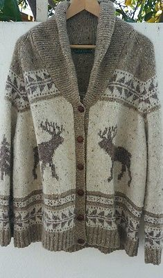 0a7076ec8 Vintage Polo Country Ralph Lauren Hand Knit Wool Sweater M L Ski Rare
