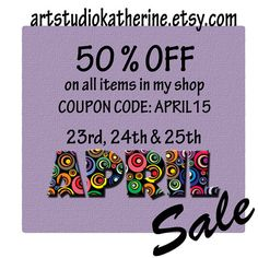 April sale 3 day sale 2015 Everything in shop by ArtStudioKatherine Sale 2015, Coupon Codes, Everything, I Shop, Coding, Unique Jewelry, Handmade Gifts, Day, Shopping