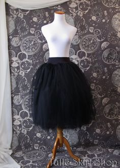 Black Tulle Skirt - Adult Tea Length- Stretch Drop Waist -Tutu or Petticoat - Midi Skirt, Ideal with Corsets or Bustier Custom Made to Order by TulleSkirtShop on Etsy https://www.etsy.com/listing/185724517/black-tulle-skirt-adult-tea-length