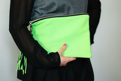 Clutch with wristlet and tassel  neon fluro green and by Olga Re: on etsy.com