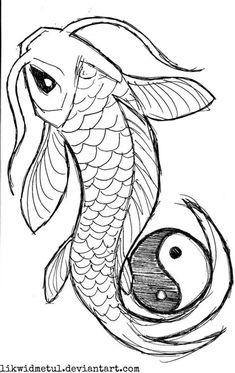 Nice Outline Yin Yang Koi Tattoo Design | Tattooshunter.com