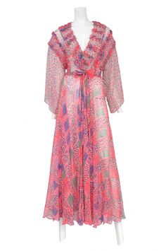 Resurrection Vintage is a premier boutique with stores in New York and Los Angeles. Ossie Clark, Pink Sundress, Floral Chiffon, Online Purchase, Wrap Dress, Boutique, Clothes, Collection, Vintage