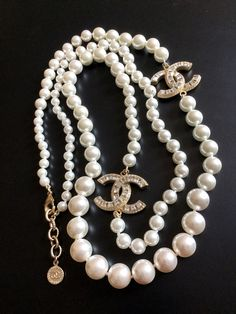 STUNNING #CHANEL PEARL Necklace 2 CRYSTAL Baguette CC Gold 100 Anniversary Authentic new Chanel Pearl Necklace, Chanel Pearls, Chanel Jewelry, Coco Chanel, Pearl Jewelry, Fine Jewelry, Silver Jewellery, Jewlery, Chanel Fashion