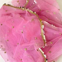 a color that spreads happiness and love. So this festive season, get dressed in our pink net dupatta with little sequins all over and big shining sequins border with golden lace . Anarkali Dress Pattern, Pink Kurti, Bridal Dupatta, Perfect Hair Color, Acrylic Wedding Invitations, Frock Design, Net Saree, Bubblegum Pink, Bridal Gifts