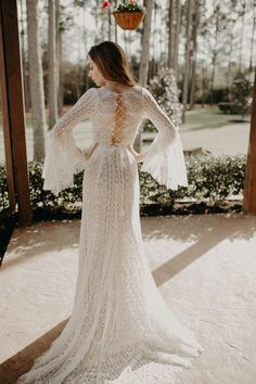 | bohemian wedding dress | boho wedding gown | open back wedding dress | bohemian wedding style | boho bride | flowing wedding gown | wedding dress with bell sleeves | 2019 wedding dress trends | wedding gown ideas | bride | photo taken at THE SPRINGS Event Venue. follow this pin to our website for more information, or to book your free tour! SPRINGS location:  Pinehaven in Magnolia, TX photographer:  Tyler Rebekah Wright #weddingdress #weddinggown #weddingstyle #bohemianwedding #bohowedding… Wedding Dress Trends, Gown Wedding, Wedding Dress Styles, Bridal Dresses, Wedding Ideas, Boho Wedding Dress Bohemian, Boho Bride, Lilac Wedding, Dream Wedding