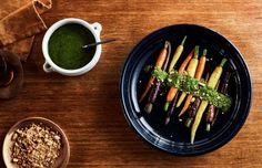 Authentic Zanahorias · Argentinian Roasted carrots with maple syrup and coriander pesto (The Design Files), ,