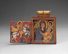 In the seventeenth century, Ethiopian artists were increasingly exposed to forms of expression from Europe. During this period, double-sided diptychs became popular among the nobility as pendant icons worn suspended by a cord around the neck