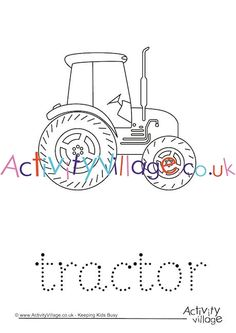 Tractors have big appeal to young children so our tractor word tracing page is a fun way to encourage children to put pencil to paper. After they have traced the word there is a picture to colour. Tractor Coloring Pages, Colouring Pages, Coloring Pages For Kids, Autumn Activities For Kids, Crafts For Kids, Tractor Crafts, Tractors For Kids, Autumn Crafts, Business For Kids