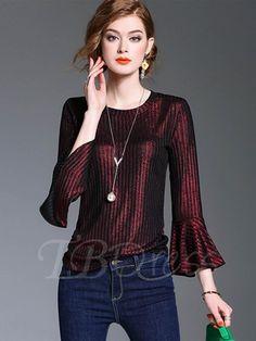 #TBDress - #TBDress Pleated Plain Flare Sleeve Womens T-Shirt - AdoreWe.com