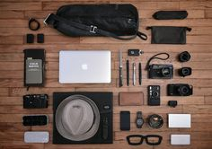 obviously, this is a photography kit... but I am loving the organisation of objects and technology