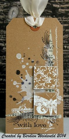 Scrap from Bemmel: Make & take De Craftorij - white and black on Kraft - lovely colour combo. Atc Cards, Card Tags, Gift Tags, Handmade Tags, Paper Tags, Kraft Paper, Mix Media, Artist Trading Cards, Christmas Tag