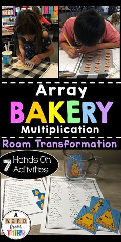Array Bakery: Multiplication Room Transformation Welcome to The Array Bakery! This activity pack inc Multiplication Activities, Math Activities, Third Grade, Fourth Grade, Ninth Grade, Seventh Grade, Teaching Resources, Teaching Ideas, Classroom Resources