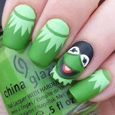 Instagram media by katiescreativenails - Kermit the frog #nail #nails #nailart