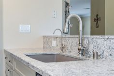 Quartz Countertop With Bevel Edge (Della Terra Monet) with Quartz Backsplash Photo by PreviewFirst #countertop