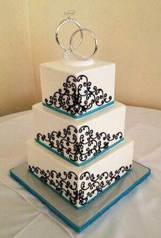 Kyla: Black white and teal buttercream wedding cake. Too boring?