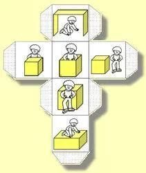 Divers Game - Practice position words with a sturdy box - Roll the dice and climb in, on, beside, in front of or behind. Turn this into word work by using words instead of pictures. Lots of fun exercise during language arts time. Plus