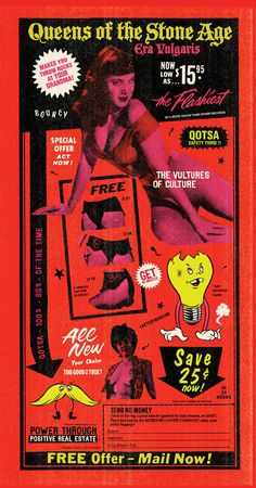 Queens of the Stone Age - Era Vulgaris by Doug Cunningham and Jason Noto Rock Posters, Band Posters, Concert Posters, Gig Poster, Graphic Design Posters, Graphic Prints, Music Covers, Album Covers, Vintage Posters