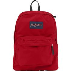 JanSport SuperBreak Backpack ($36) ❤ liked on Polyvore featuring bags, backpacks, red, school & day hiking backpacks, rucksack bag, red bag, strap backpack, pocket backpack and handle bag